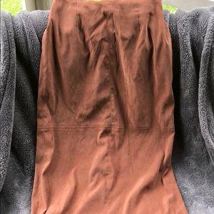 Vintage Brown Suede Midi Skirt